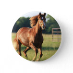 Chestnut Galloping Horse Button