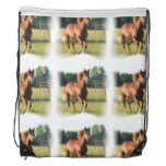 Chestnut Galloping Horse Drawstring Backpack