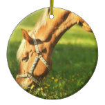 Palomino Horse Grazing Ornament